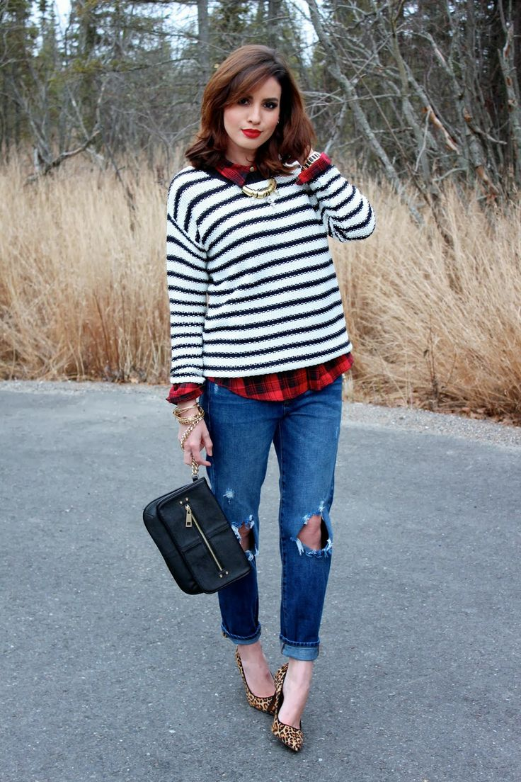 Mixing Prints | Striped sweater, plaid shirt and leopard print pumps