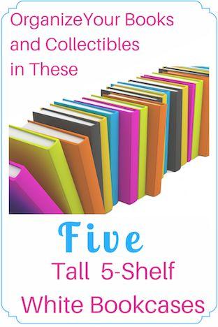 Tall White 5-Shelf Bookcase