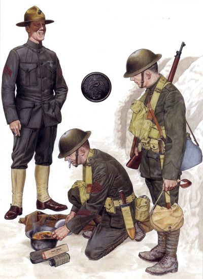USMC - A corporal of the 5th Marines in 'walking-out' dress; two Marines of the 2nd Division, as would be dressed at Verdun in the spring of 1918, the top from the 6th Machine Gun Battalion, and the private from the 6th Marines Regiment.