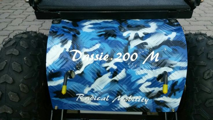 Cool Blue Camo Dassie 200 M with The Extreme conversion and folding backrest.