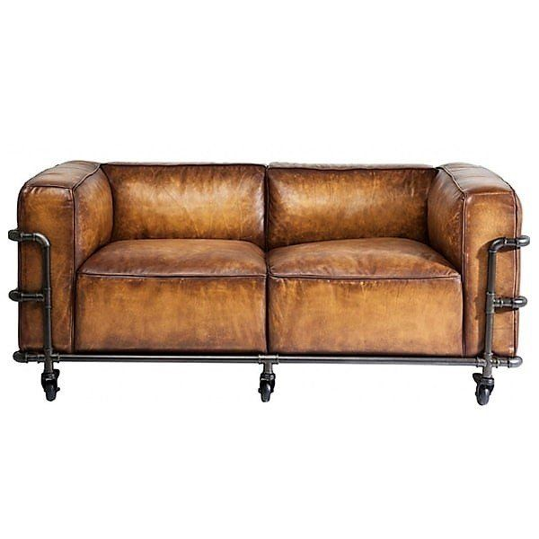 Brantley Industrial Leather Sofa On Casters Rustic