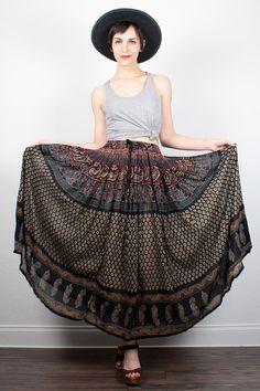 Vintage Indian Skirt Hippie Skirt Midi Skirt Boho India Skirt Broomstick Skirt Cotton Gauze Festival Skirt Full Sweep Skirt S Small M Medium by ShopTwitchVintage #vintage #etsy #hippie #boho #bohemian #skirt #indian #gauze