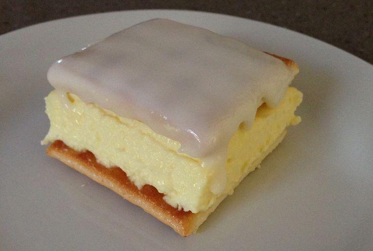 Vanilla Slice - 1 Pkt Arnott's Lattice Biscuit, 300ml thick cream, 1 cup milk, 1 pkt vanilla instant pudding, Icing sugar, Vanilla extract. Method: Cover base 23cm slab tin - half of biscuits, plain side down. Then mix cream, milk, pudding powder - bowl- beat 1 minute- thick/smooth. Pour mix over biscuit base.Top pudding remaining biscuits plain side down. Mix Icing sugar, a splash vanilla extract in bowl slowly add boiled water until nice consistency. Spread icing on top layer…