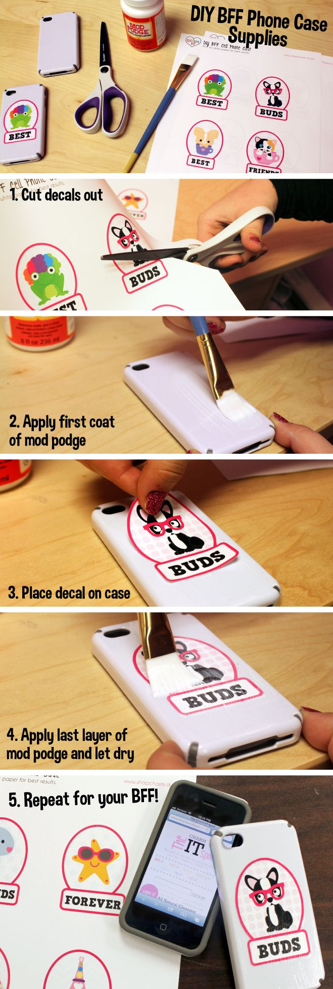 Create IT:  BFF DIY Phone Covers.  Make adorable phone cases (one for you, one for your bff) with our free printables and tutorial!