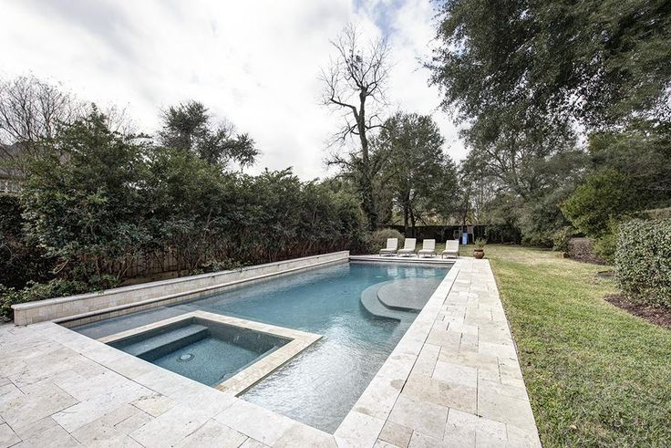"6534 Mercer St West University Place, TX 77005: Photo Amazing heated pool and spa with b safe auto-pool cover, Pebble Tec finish, 3'6""to5'6"" depth"