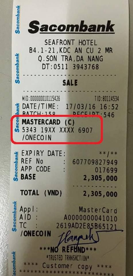 Onecoin Card Payment 2016