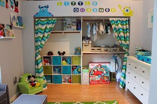 Life With The Tans: Liam's Monster's Inc Nursery - I like the way the closet is done