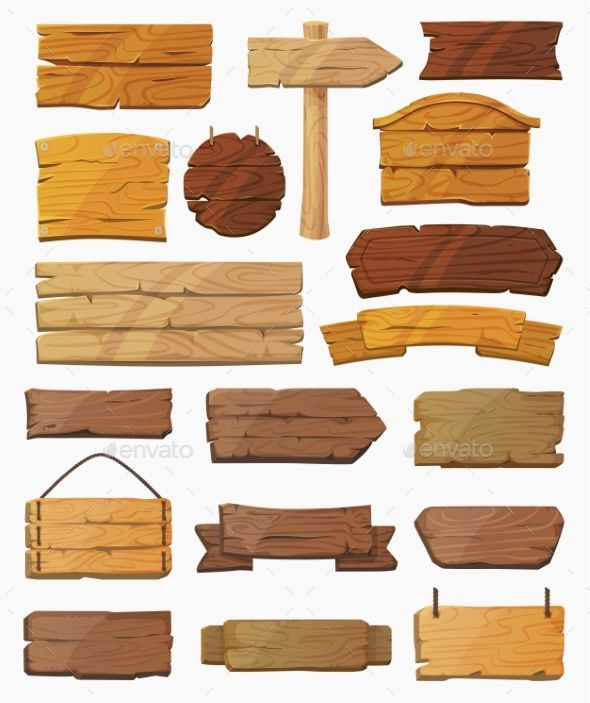 Set Of Isolated Pointers Signs Or Wooden Planks Wooden Planks Wooden Wooden Signs
