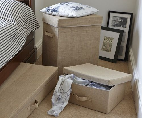 Hessian storage box with lid and handles & 81 best Storage images on Pinterest | Storage boxes Bedroom ... Aboutintivar.Com