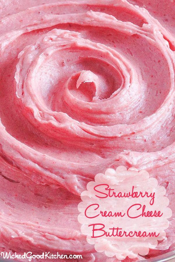 Strawberry Cream Cheese Buttercream recipe- Light and fluffy cream cheese buttercream.