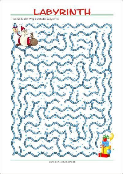 Weihnachtsrätselspaß   Labyrinth   Kostenlose Rätsel zum