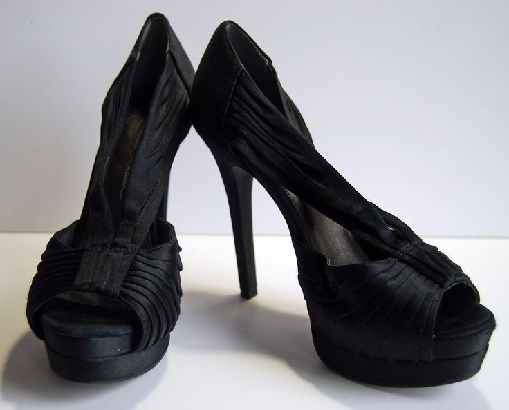 Jessica Simpson Heels Stilettos Black Satin Peep Toe Pumps Party Retro 5.5 B  #JessicaSimpson #Stilettos #Party