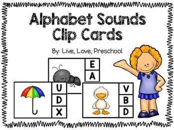Thank you so much for downloading my Alphabet Sounds Clip Cards!  This product is a fun and engaging way to practice matching beginning sounds to the letters they start with.  Use one-on-one, or put in a center for independent letter work.  Students will say the picture they see on the card, sound out the beginning sound, and clip the letter the picture starts with.