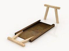 Slimme opbergtafel van Gumdesign. Door zijn eenvoud maakt dit slimme ontwerp indruk op mij. De ijzeren plaat is aan de randen omgevouwen zodat de houten poten in het frame passen. Als je de tafel niet gebruikt dan kun je hem makkelijk aan de kant zetten door de poten op te bergen onder het tafelblad. In deze Mastro serie van Gumdesign vind je ook een bankjes en een boekenkast.