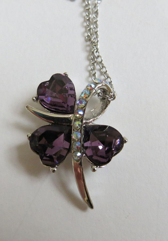 3 Clover Leaf Crystal Necklace