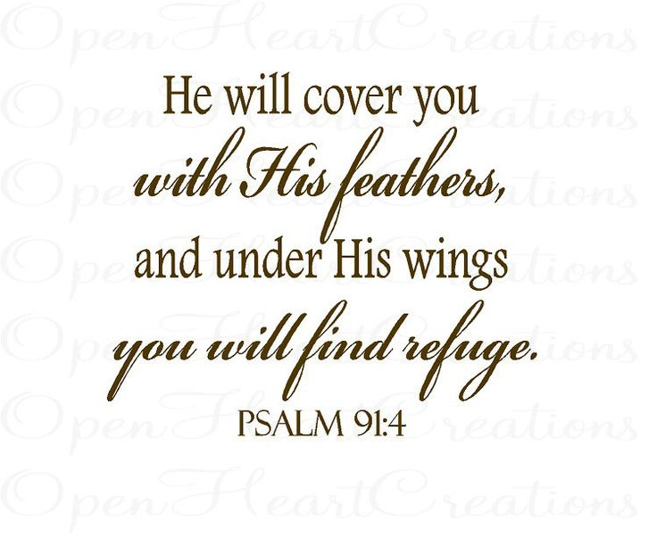 Christian Vinyl Wall Decal - He will cover you with His feathers - Psalm 91 4 22H x 26W BA0239. $39.00, via Etsy.