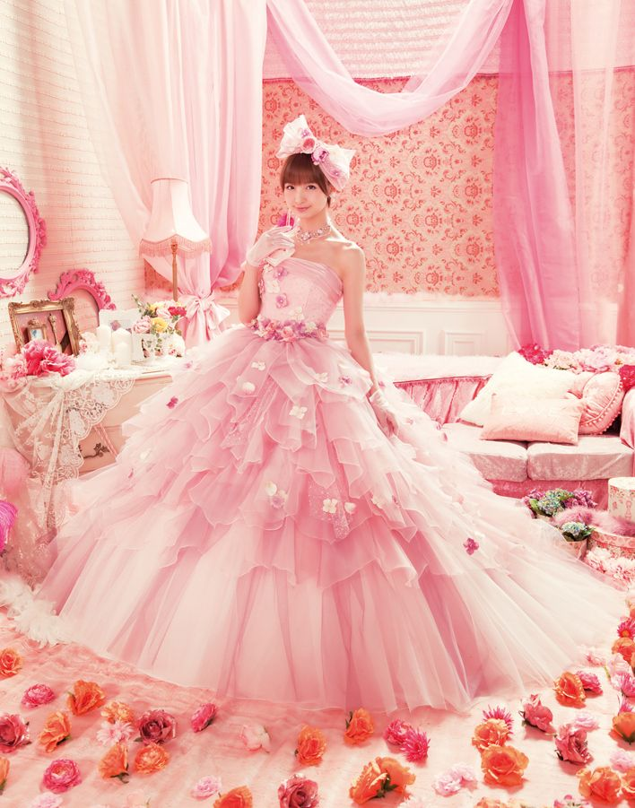 Beautiful Love Mary Wedding Dress Collections : Pink Wedding Dress with white gradient from the top