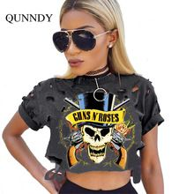 summer skull t shirt women holes crop tops novelty harjuku street tops mujer Ukraine fashion t-shirt feminino punk plus size |  China Sales Express