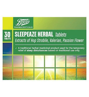 #Boots Pharmaceuticals Boots Sleepeaze Herbal Tablets - 30 10085635 #12 Advantage card points. Traditional herbal medicinal product used for the temporary relief of sleep disturbances exclusively based on long standing use as a traditional herbal remedy. See details below, always read the label. FREE Delivery on orders over 45 GBP. (Barcode EAN=5045092226247)