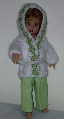 "Hand knit hooded sweater + slacks fit 8"" Kish Riley doll"