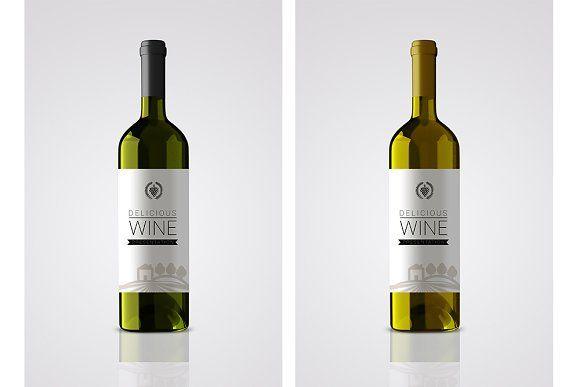 Bottle wine label mockup by shaman on @creativemarket
