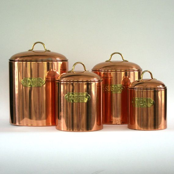 Vintage Copper Canister Set of 4. Flour Sugar by RhapsodyAttic