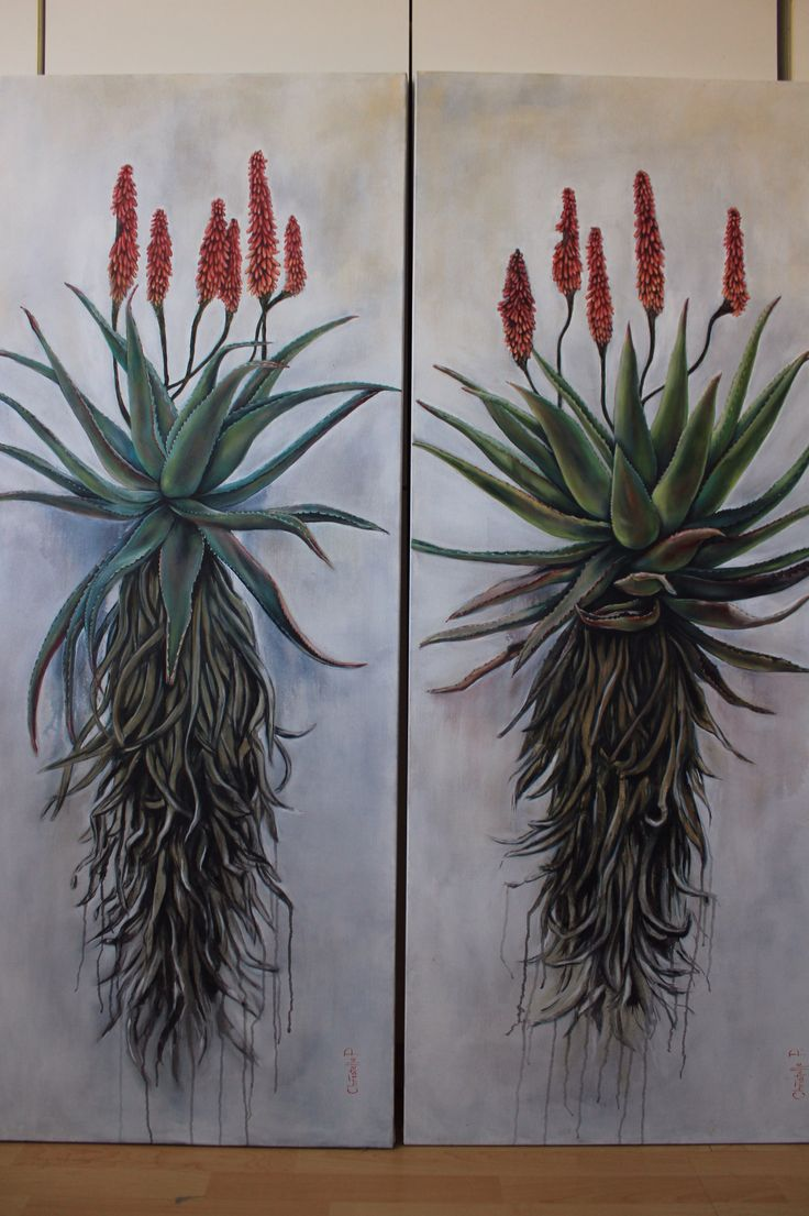 Christelle Pretorius Art, oil on canvas, Aloes 160x60 www.christellepretoriusart.co.za