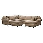 """Furnish your home with the pit design of the Monarch Living Room Group.   This 3-piece package includes Sofa, Chaise and Armless Loveseat.  Sectional is covered in plush chenille fabric.  Features a pit design.   Includes three accent pillows.  View our wide assortment of sectionals online or visit a store close to home!     SKU: 1542389 - Monarch Taupe 3-PC Sectional   Sectional - 133""""W x 93""""D x 36""""H"""