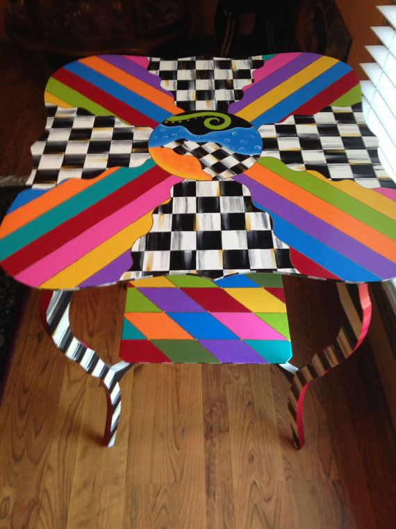 Whimsical Painted Table Alice In Wonderland Meets Mackenzie Childs Furniture