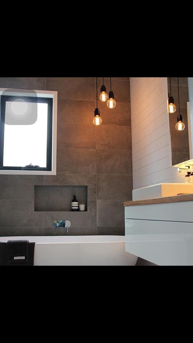 Grey, white and timber bathroom
