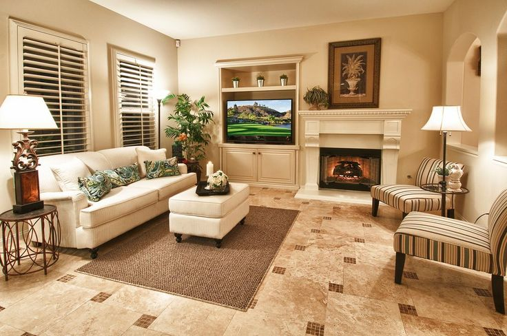 Traditional Living Room with INSPIRE Q Peterson Mocha Brown Stripe Slipper Chair, Travertine tile floor, Built-in bookshelf