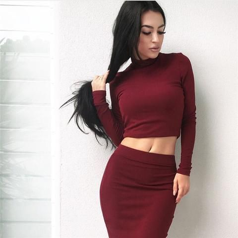 7d5ec3b5f47 Women s Fashion new two-pieceTops And Skirt Set Women Sexy Long Sleeve  Autumn Tracksuit Plus Size Women s Party DressYY347