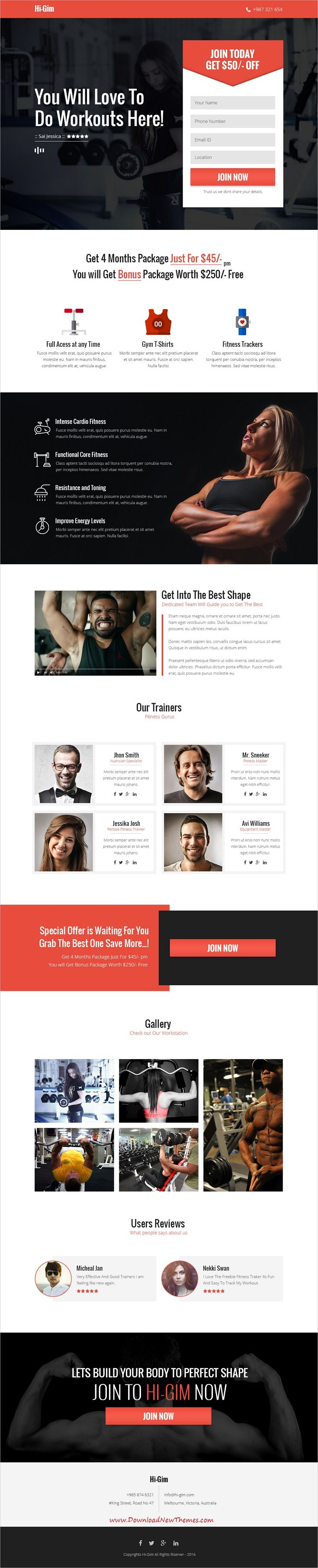 Hi-Gim is clean and modern design #PSD template for #fitness and #gym centers landing page #website to live preview & download click on Visit