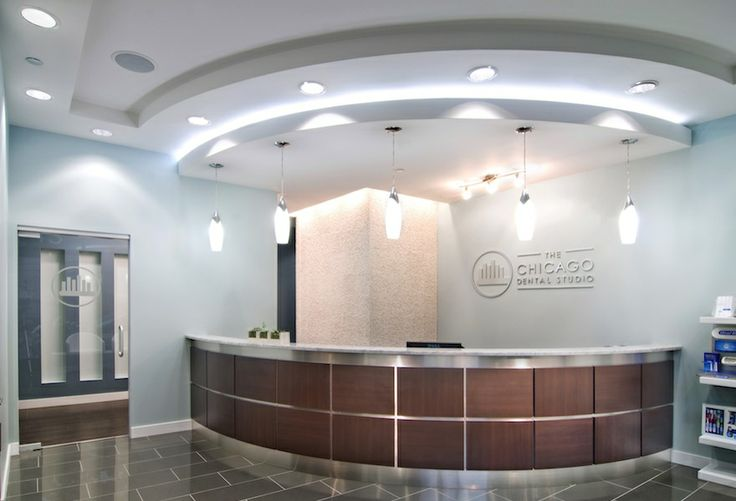 blues, reception desk, lighting, ceiling | Winning Smiles Office