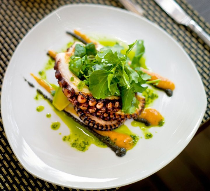 and after : Octopus dish served at Maturana restaurant (Santiago de Chile)