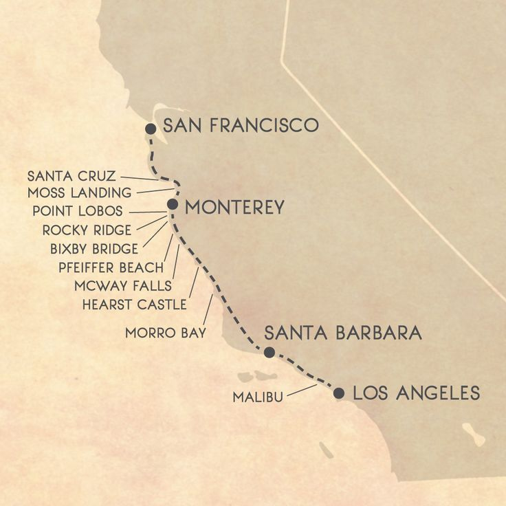 Big Sur road trip itinerary map