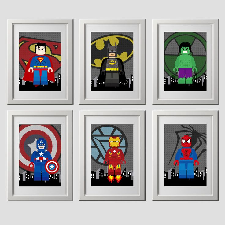 Superhero wall art PRINTS, super hero, superhero bedroom wall decor, 6 (8x10) inch high quality prints shipped to your door by AmysDesignShoppe on Etsy https://www.etsy.com/listing/477504490/superhero-wall-art-prints-super-hero