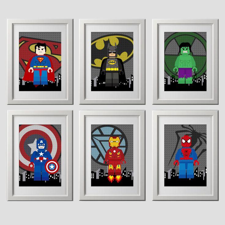 Kunst aan de muur superheld PRINTS, super hero, superheld slaapkamer wand decor, 6 (8 x 10)-inch prints van hoge kwaliteit geleverd aan uw deur door AmysDesignShoppe op Etsy https://www.etsy.com/nl/listing/477504490/kunst-aan-de-muur-superheld-prints-super