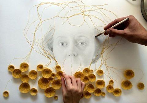 """franciscoarcoaArcoa y Laura Segura Gómez  """"Rizomas"""" 2015. Grafito sobre papel, hilo y cera de abeja.  #arcoa #arte #granada #grafito #portrait hilo #cera #instaart #PDI_ESDM_EAG"""