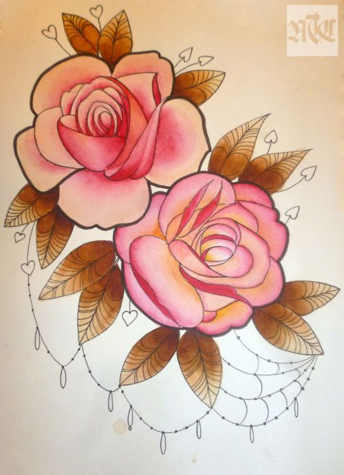 Duo of pink roses tattoo drawing with diamond webs hanging down love