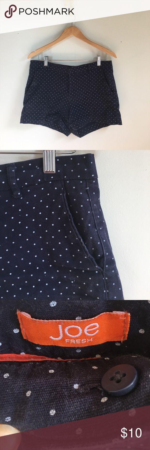 Joe Fresh navy polka dog shorts size 6 Joe Fresh navy shorts with white polka dots. Size 6. Preppy. Functional pockets. Joe Fresh Shorts