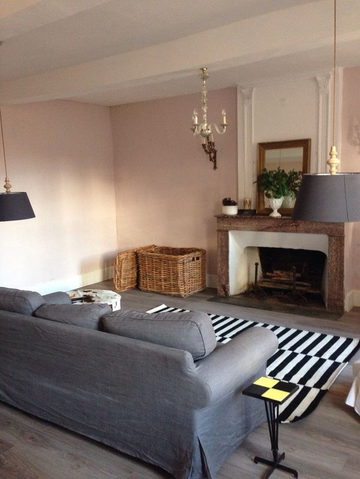 Farrow and ball calamine walls, ikea rug, French house