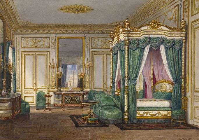 Queen Victoria's bedroom at Saint-Cloud, 1855. The bed is hung with silk in imperial green, with Victoria's initials on the embroidered headboard. A telescope on a small table looks out of the window towards Paris.