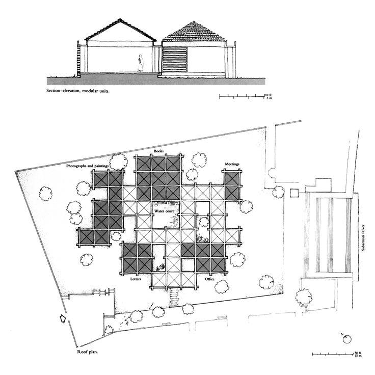√150713 Referencia para Centro Hindú. Charles Correa - Gandhi Smarak Sangrahalaya at Sabarmati Ashram, Ahmedabad | Architexturez South Asia