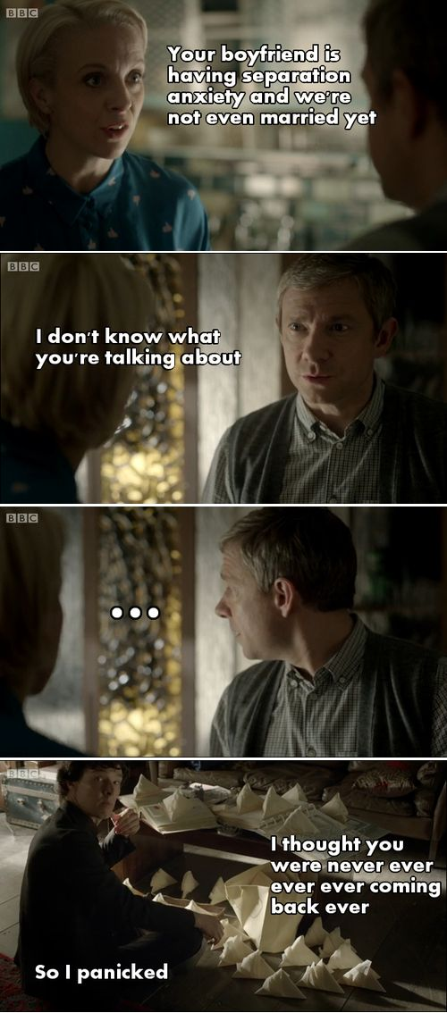 Separation anxiety ~ I love how John doesn't even argue when Mary calls Sherlock his boyfriend :)