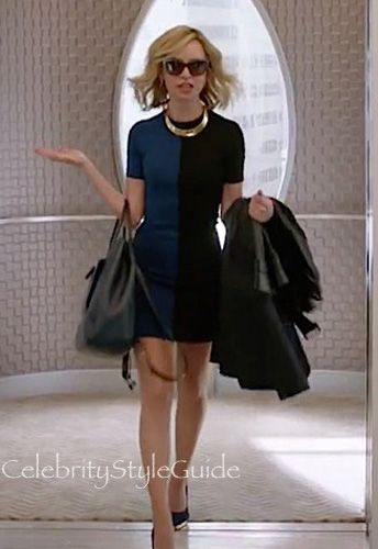 Cat Grant's All Business In This Blue and Black Colorblock Dress In Supergirl