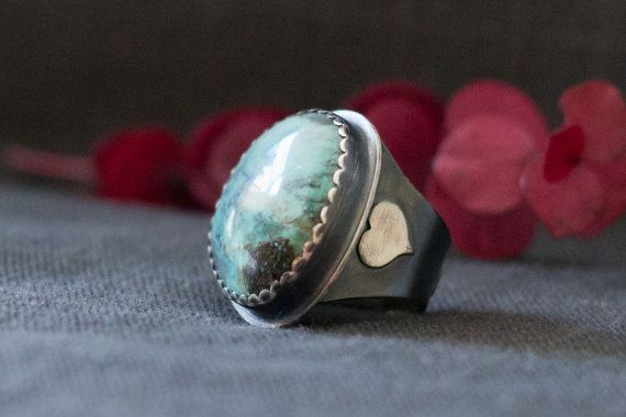 Wonderland Ring  Sterling Silver and Turquoise by BuffaloLucy, $175.00