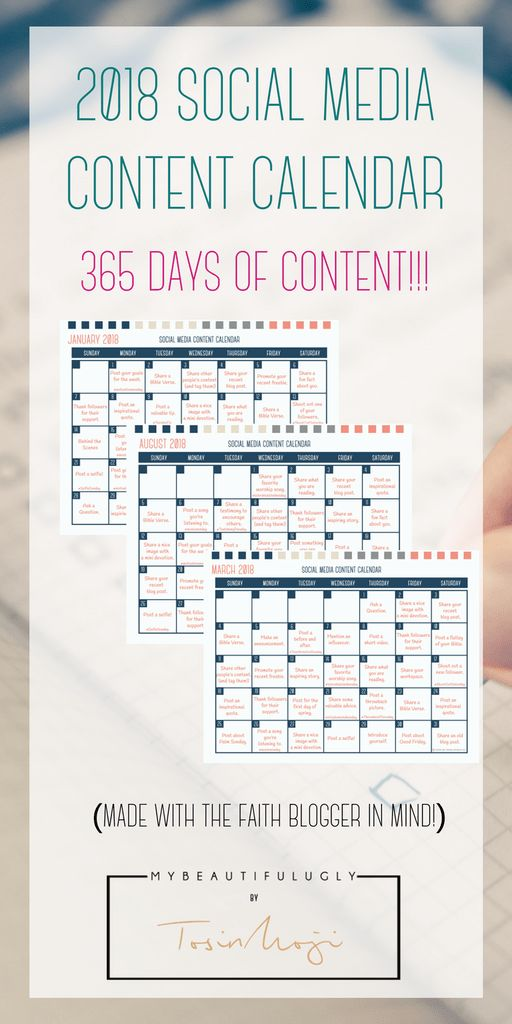 2018 Social Media Content Calendar  365 Days of Social Media Content  Instagram | Facebook | Twitter |