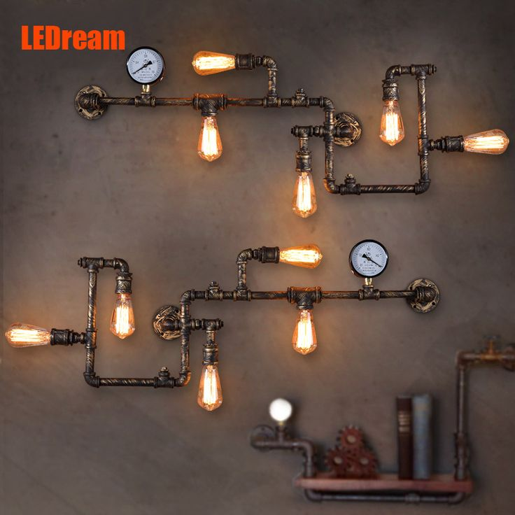 Pas cher LEDream nouvelle mode wroguht fer paroi de la conduite D'eau lampe plafonniers d'allée cru loft mur de fer lampe edison ampoule à incandescence, Acheter  LED Intérieur Mur Lampes de qualité directement des fournisseurs de Chine: