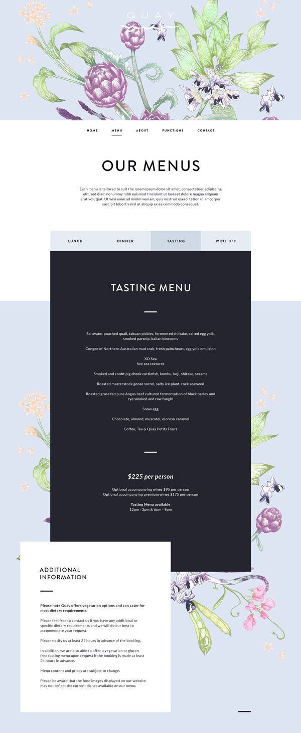 Quay Restaurant // Site Design on Behance